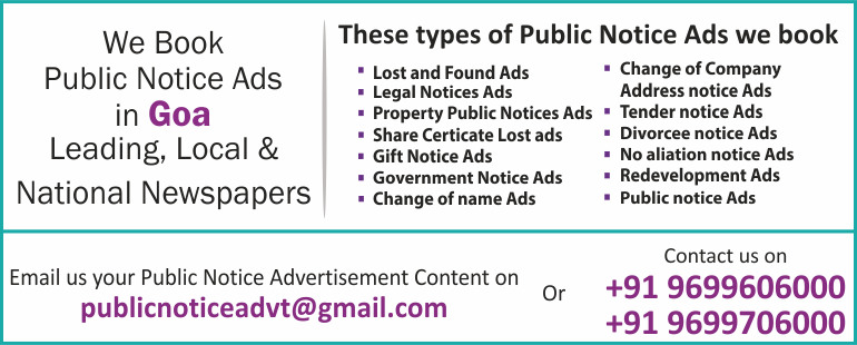 Public Notice Ads in Goa Newspapers